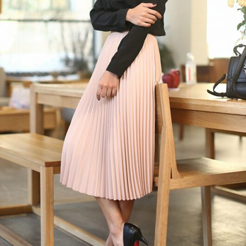 2016-spring-all-match-chiffon-skirt-waist-fold-slim-skirt-pleated-skirt-Department-summer-slim-skirt