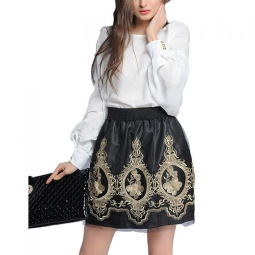 Golden-Embroidery-Tulle-Skater-Skirts-Womens-Flora