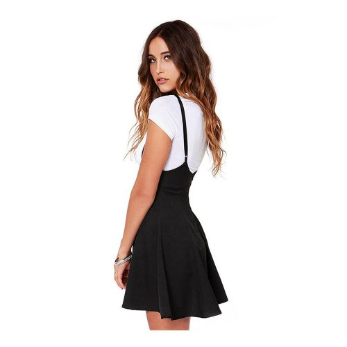 New-2016-Women-Fashion-Black-Skater-Skirt-with-Shoulder-Straps-Pleated-Hem-Skirt-faldas-Saia-etek (1)