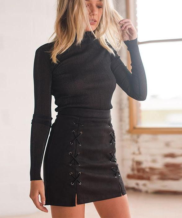 93e7b20d35 Autumn Lace Up Pencil Skirt · Mini, Pencil, High Waist