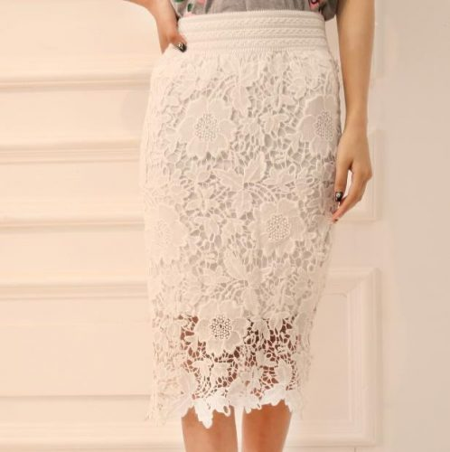 Wholesale-High-Quality-2015-New-Women-Lace-Skirt-A-Line-Hollow-Out-White-Black-SKirt-Knee (1)