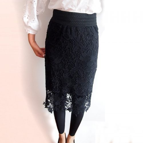 Wholesale-High-Quality-2015-New-Women-Lace-Skirt-A-Line-Hollow-Out-White-Black-SKirt-Knee